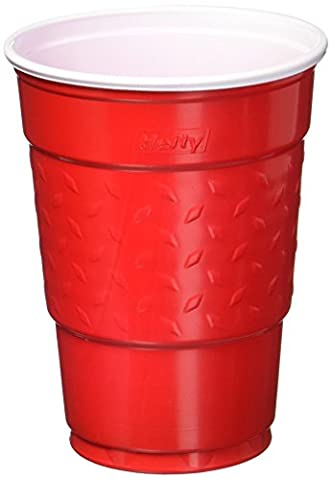 Easy Grip Disposable Plastic Party Cups, 18 oz, Red, 50/Pack