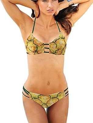 watmaid mujeres Reversible piña impreso Bikinis set de baño Beachwear