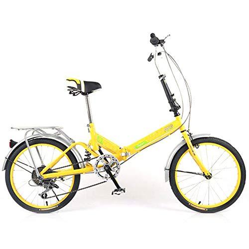 DPGPLP 20-Zoll-Faltrad - Erwachsene Faltrad Studentin Damen Singlespeed Variabler Geschwindigkeit Stoßdämpfer Fahrrad Portable Pendler Auto,Gelb,sixspeed -
