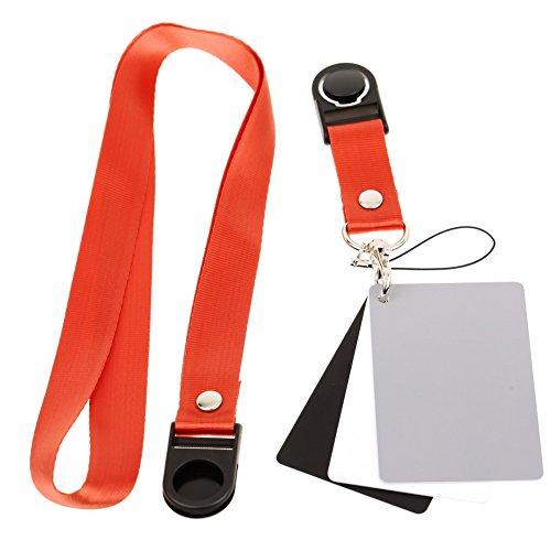 HSL Grau Karten-Set Weissabgleich-Karte 18% Graukarte und Black Card fur digitale Fotografie und Film mit Premium-Lanyard-(3-Karten-Set) (Grau Karte)