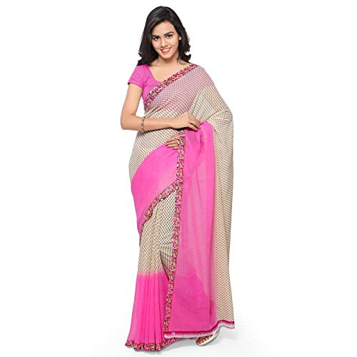 Anand Sarees Faux Georgette Printed Saree with Blouse Piece 1194.P_Beige and Pink  available at amazon for Rs.299