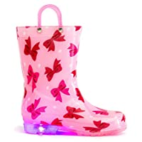 MOFEVER Toddler Kids Light up Wellies Wellingtons Rain Boots