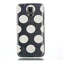 KSHOP Funda TPU silicona transparente para Samsung Galaxy S5 i9600 Carcasa Case Cover Delgada anti - golpe transparente - Bola Blanca