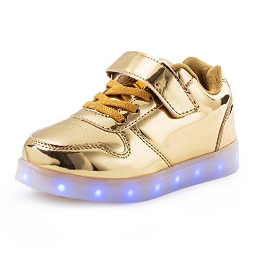 AFFINEST LED leuchtet Schuhe Sneakers mit USB einem Geschenk der Kinder Jungen Mädchen Weihnachten Neujahr (golden,31) (Top 40 Halloween Kostüme)