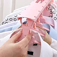 KEEKOS Plastic Multi-Function 8 in 1 Cloth Hanger Magic Scalable 360 Rotating Hook Collapsible Drying Rack (Pink)
