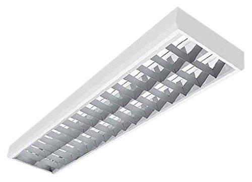 Rasterleuchte 2x58Watt, EVG, Alu-Raster, Rasteranbauleuchte, Anbauleuchte, Deckenleuchte 2x58W EVG mit breitstrahlendem Aluminiumraster und elektronischem Vorschaltgerät, Deckenleuchte, Flurleuchte - Leuchtmittel nicht im Preis enthalten