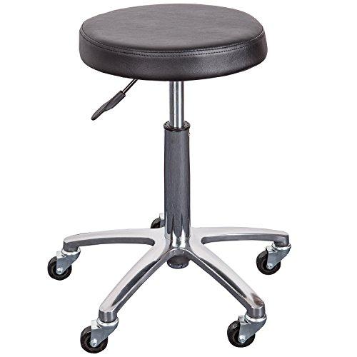 Arbeitshocker mit runden Sitz HEIDI, höhenverstellbar 50 bis 70 cm, 360° drehbar, 5 Rollen, schwarz