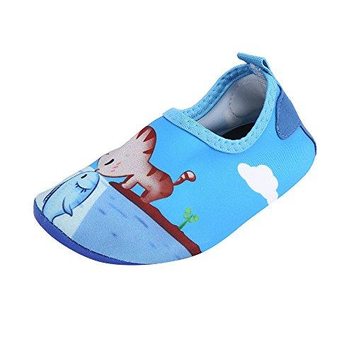 TianWlio Badeschuhe Strandschuhe Wasserschuhe Aquaschuhe Schwimmschuhe Surfschuhe Kind Baby Jungen Mädchen Wels Strand Schnorchel Socken Schwimmen Tauchen Kind Schuhe Blau 24-25