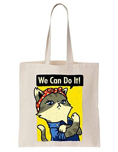 We Can Do It Purrsist Cat Algodón Bag Tote Bag