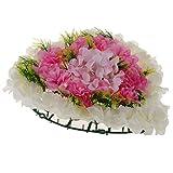 P Prettyia Seiden Blumenkranz Deko Blumen Kunstblumen Dekoration mit Hortensien Design als Grabschmuck und Autoschmuck - Rosa