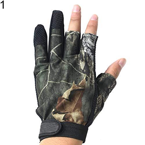 XQxiqi689sy 1 Paar Neopren-Anti-Rutsch-Handschuhe 3/5 Cut Finger Handschuhe für Outdoor Angeln Jagd, Herren, Camouflage, 3 Cut