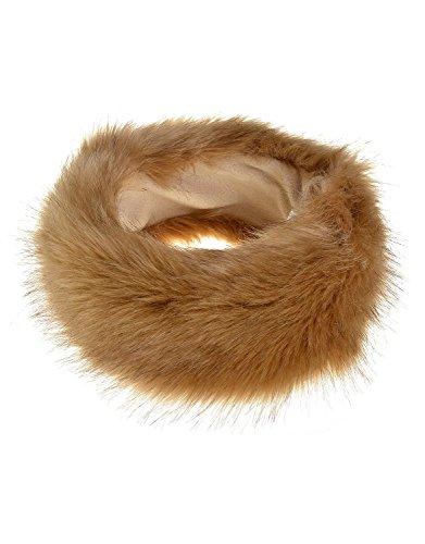 Samanthajane imitation fourrure de renard hiver russ'earmuff bandeau Bonnet de Ski Blanc - Marron