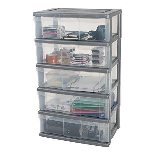 Iris, Schubladenbox 'Wide Chest', WC-N605, 5 Schubladen, für Werkzeuge, Plastik, Silber, 60 x 41 x 109 cm