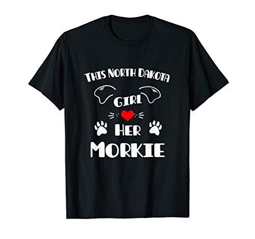 This North Dakota Girl Loves Her Morkie  T-Shirt -