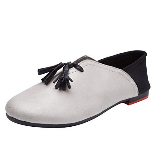 MatchLife Damen Schuh flache klassische Leder flachen tiefen bequemen weichen Schuhe Grau