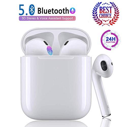 Auricolare Bluetooth 5.0 IPX7 Cuffie wireless per il sudore Cuffie wireless intelligenti con riduzione del rumore Touch Mini...