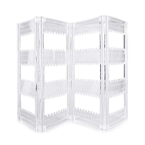 E-CHENG 256 Acrylic Earrings Holder 4 Doors Foldable Necklace Hanging Jewelry Organizer Double Sided Stand Display,Decorative Jewelry Boxes Clear -