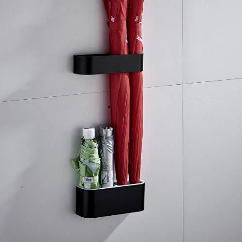 Sport Tent-Schirmständer Wand Regenschirmständer Wasserauffangschale Wandschirmständer für Flur Zuhause und Büro (Matt Schwarz)