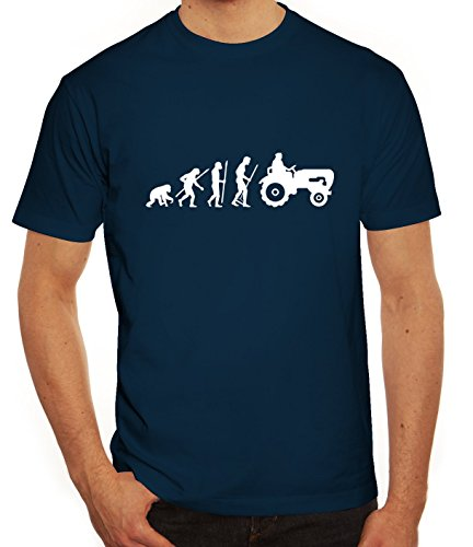 Lustiges Herren T-Shirt Evolution Traktor, Größe: L,dunkelblau