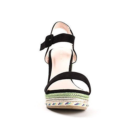 Ideal Shoes - Sandales compensées effet daim Milla Noir