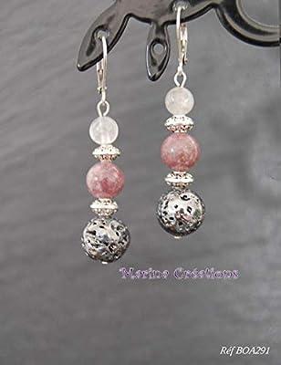 Boucles d'oreille lépidolite, pierre de lave et quartz rose, bohême chic, crochets dormeuses acier inox, tons roses, idée cadeau femme
