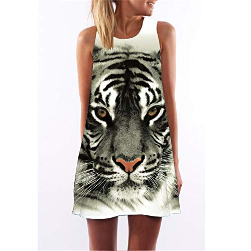 Tiger-print-rock (3D Tier Tiger Print eine Linie Dress 2018 Sommer Rundhals kurzes Strand Dress Frauen Sleeveless Mini Retro Vintage Dress Vestidos, l)
