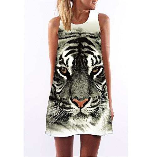 binglinshang 3D Tier Tiger Print A Line Kleid 2018 Sommer Rundhals Kurzes Strandkleid Frauen Ärmellos Mini Retro Vintage Kleid Vestidos, S -