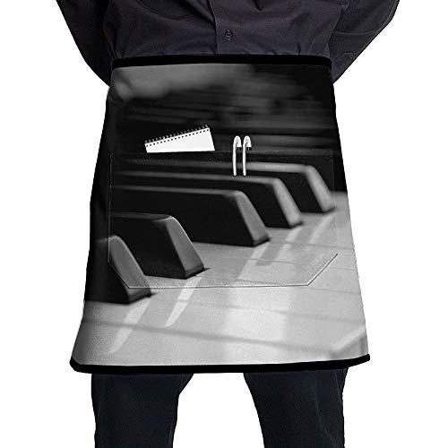 QIAOJI Schürze, Klavier mit Schlüsseln, Unisex, Halbkörper-Taille, mit Tasche, Familie, Küche, Kochen, Kurze Schürzen, für Kneipen, Barkeeper