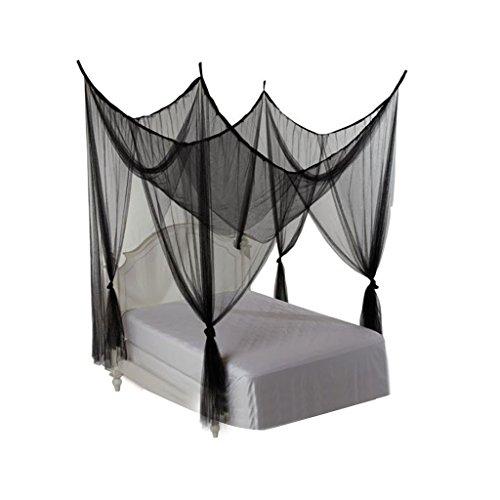 Bai lei jia ju shop 4 Eckpfosten-Moskitonetz-feine Ineinander greifen-Bett-Überdachung mit 4 Öffnungen passend für irgendeine Größen-Bett-Sommer-Bettwäsche (Farbe : - Netting-bett Schwarz