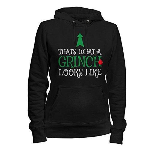 Fashionalarm Damen Kapuzen Pullover - Thats What A Grinch Looks Like | Fun Hoodie Spruch Geschenk Idee Weihnachten Heiligabend Weihnachtsmuffel, Farbe:schwarz;Größe:M