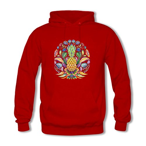 HGLee Printed DIY Custom Colorful pineapple Women's Hoodie Hooded Sweatshirt Red--2
