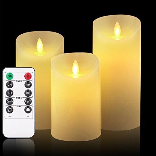 Flammenlose LED Kerzen mit beweglicher Flammen Timer Funktion mit Fernsteuerpult, Kerze Lampen Schlafzimmer Wohnzimmer Dekoration für Hochzeit, Geburtstag 10cm 12.5cm 15cm hoch (Satz von 3)