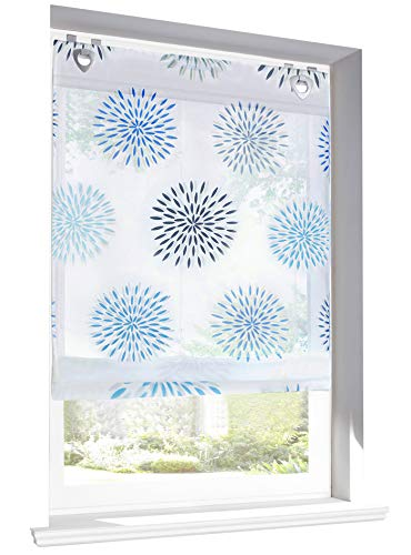 BAILEY JO Raffrollo mit Kreis-Motiven Druck Design Rollos Voile Transparent Vorhang (BxH 80x140cm, Blau mit U-Haken)