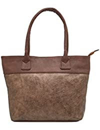 TARUSA Copper Faux Leather Solid Tote Bag For Women