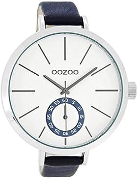 Oozoo Damenuhr mit Lederband 48 MM Weiss/Blau C8318