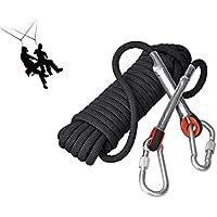 Cuerda Eunicorn de 10,5 mm de diámetro y 10 m de largo, con 2 mosquetones, para senderismo, escalada, acampada, rescate, 5 colores disponibles, negro