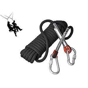 Cuerda Eunicorn de 10,5 mm de diámetro y 10 m de largo, con 2 mosquetones, para senderismo, escalada, acampada, rescate, 5 colores disponibles