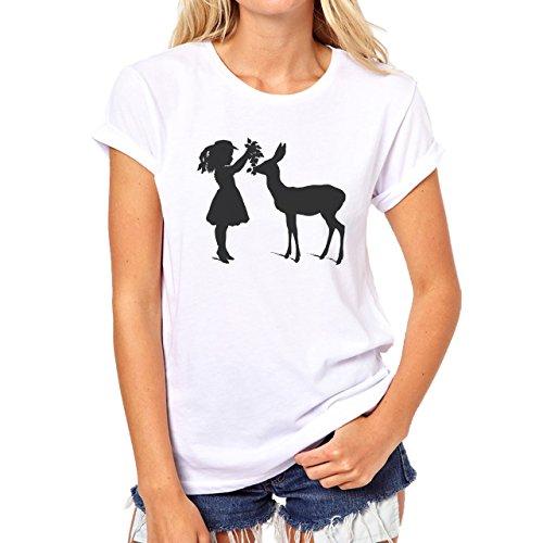 Deer Animal Wood Creature Horns Girl Damen T-Shirt Weiß
