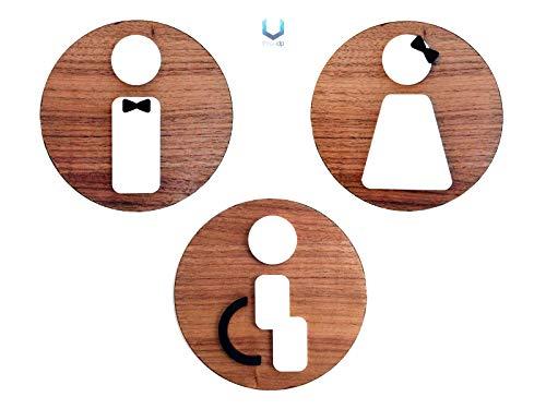 b0797cddd4bb Signs | 3 x Bagno Restroom Toilette - Uomo, Donna, Disabili - Targhette e
