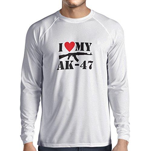 T-shirt manica lunga da uomo Amo il mio Ak - 47, russo made Aka, Калашников Kalashnikov Bianco Nero