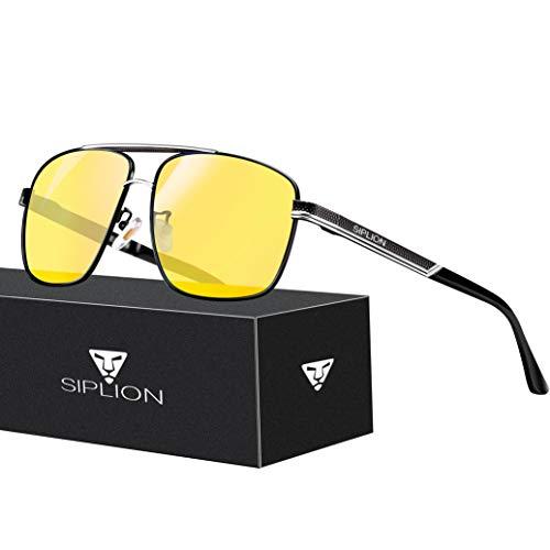 SPLION Herren und Damen Nachtfahrbrille Fahrerbrille Rechteckige Nachtsichtbrille Autofahren Metall Rahmen Nachtsicht 1823
