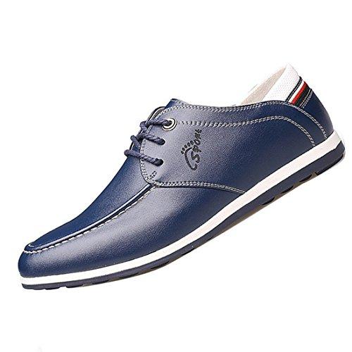 Gaorui chaussures mocassin casual hommes avec lacets en cuir verni Bleu