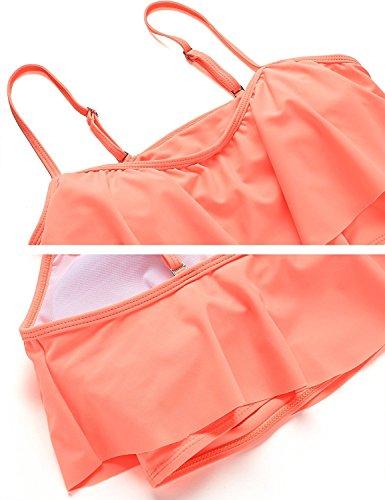 Vsecrety Womens flounce Due pezzi increspata sovrapposizione Bikini Set costume da bagno alto Rosa