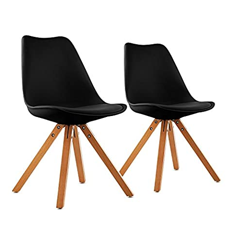 oneConcept Onassis • Schalenstuhl • Designstuhl • Retro-Stuhl • 2er-Set • 70er Jahre Retro Look • Maße ca. 48 x 83,5 x 53 cm (BxHxT) pro Stuhl • breite Sitzfläche • hochwertige Hartplastik-Schale • Birkenholz-Beine • zeitlos • komfortabel •