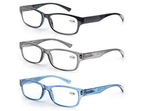 3 Pack Lesebrille 1.75 Herren/Damen,Gute Brillen,Hochwertig,Rechteckig,Komfortabel,Super Lesehilfe,fur Manner und Frauen,Schwarz-Blau-Grau