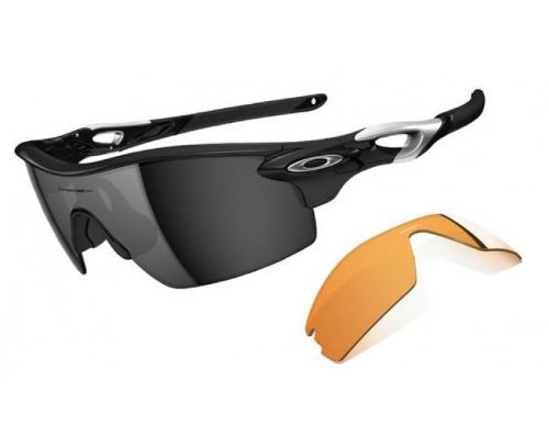 Oakley Herren Sonnenbrille Radarlock, Polished Black/Black Iridium & Persimmon Pitch, OO9182-01