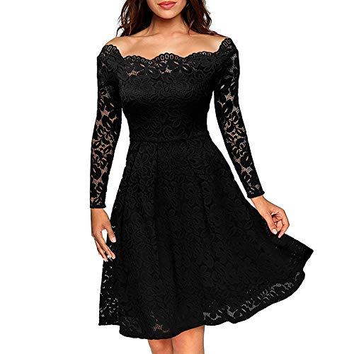 Villavivi vintage pizzo floreale una spalla maniche lunghe cocktail vestito da sera elegante donna (nero, l)
