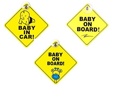 Baby an Bord Auto Aufkleber,Baby-Autoaufkleber 3 Pack Baby-Schilder für Autos PVC Quadrat Kinder Sicherheit Vorsicht Zeichen mit Saugnapf Sicherheitsschilder 5 * 5 Zoll Gelb