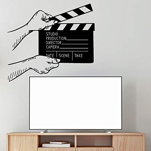 yaoxingfu Wandtattoos Film Filmklappe Wandtattoo Kino Dekor Film Film Wandtapeten Abnehmbare Filmklappe Aufkleber A weiß 57x51cm
