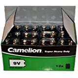 Camelion Lot de 12 piles bloc 6F22 MN1604 Super Heavy Duty 9 V